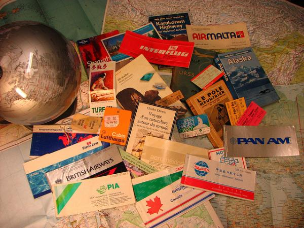 pile of plane tickets